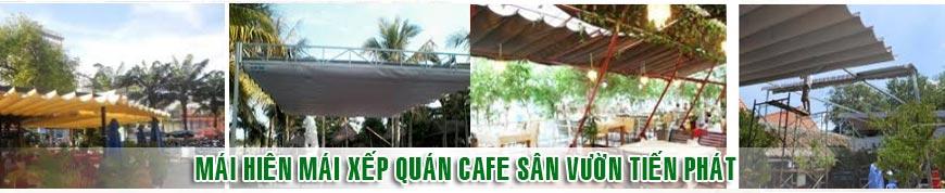 Mái hiên mái xếp quán cafe sân vườn tiến phát